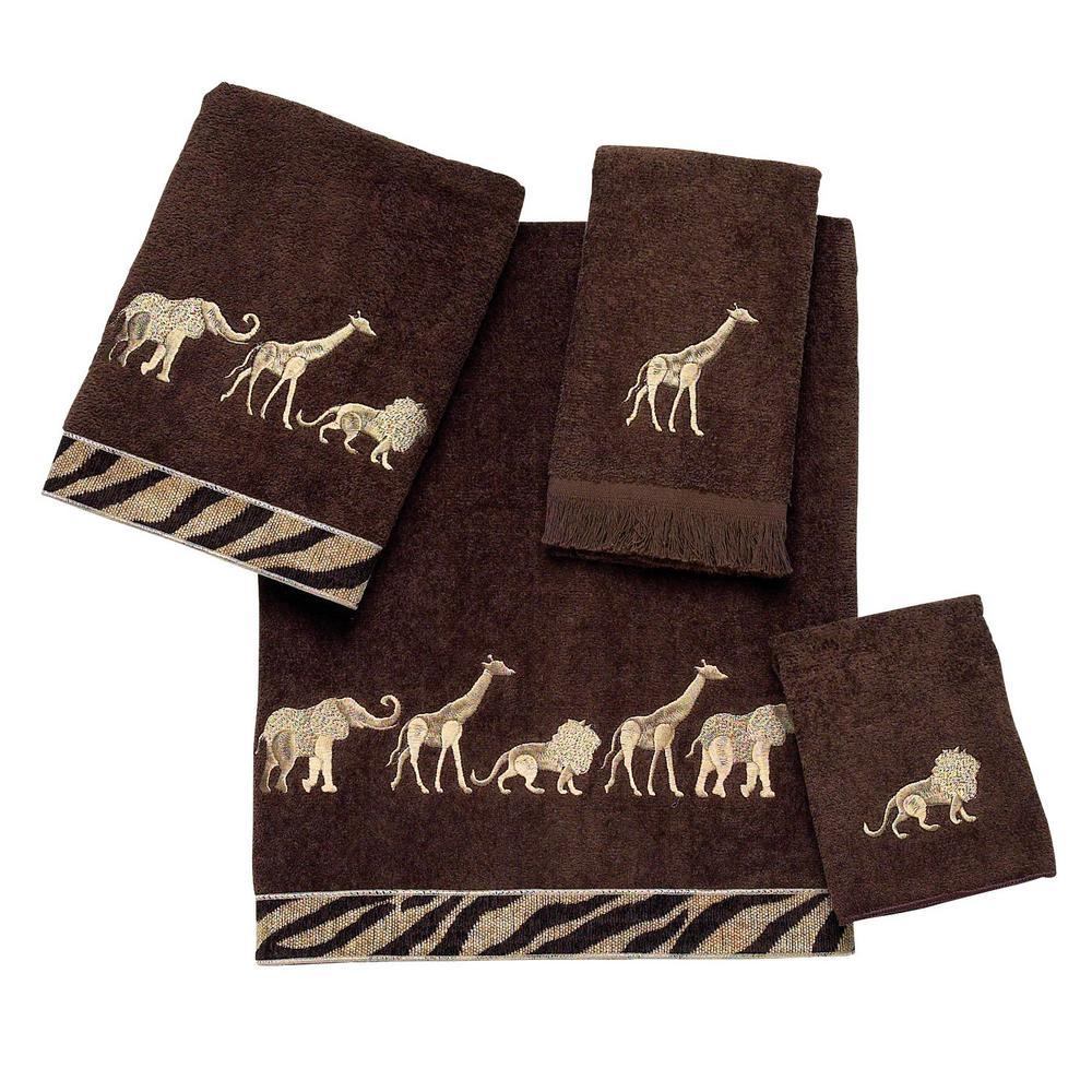Animal Parade 4-Piece Bath Towel Set in Mocha