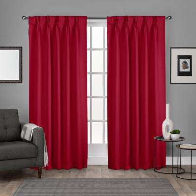 Sateen 30 in. W x 96 in. L Woven Blackout Pinch Pleat Top Curtain Panel in Chili (2 Panels)