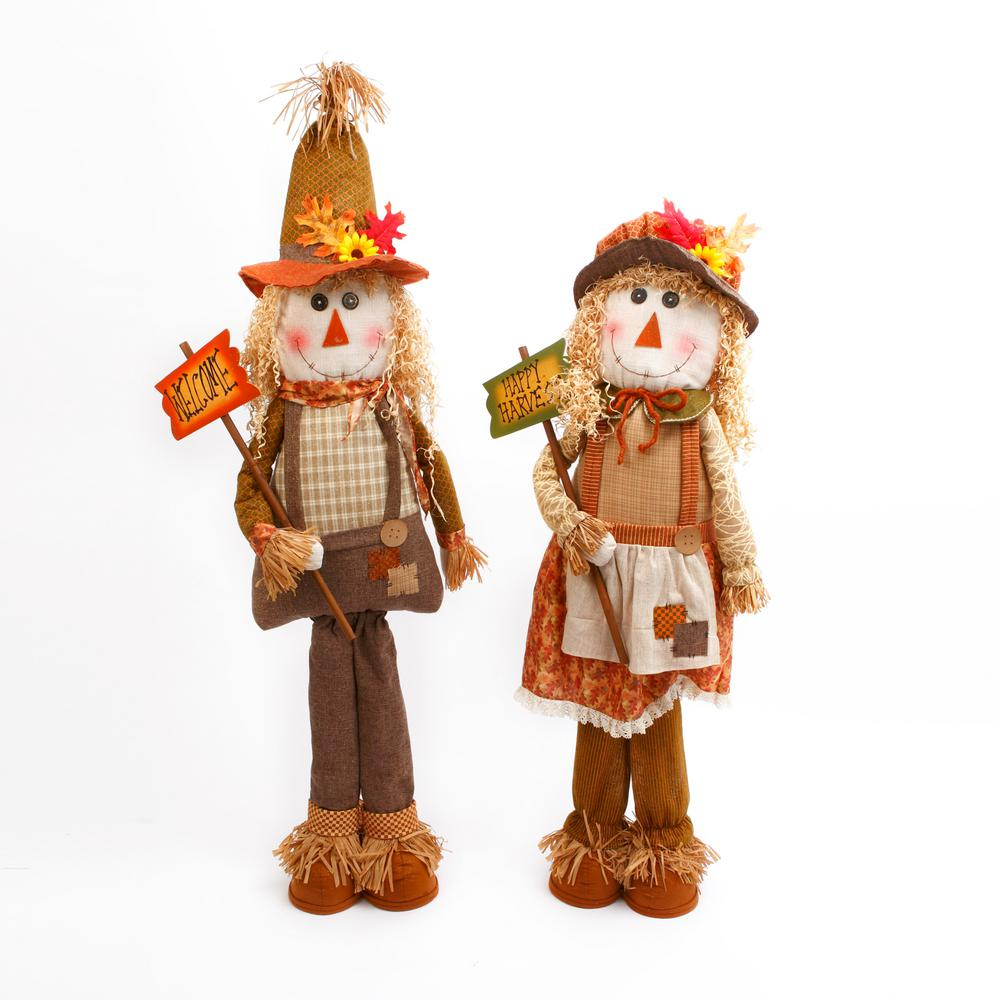 Gerson 58 in. H Plush Jumbo Scarecrow Figures (Set of 2)