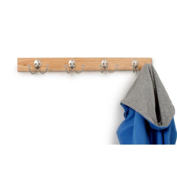 Stratford Maple Wood 24 in. Wall Mount Rack with 4-Double Satin Nickel Hooks