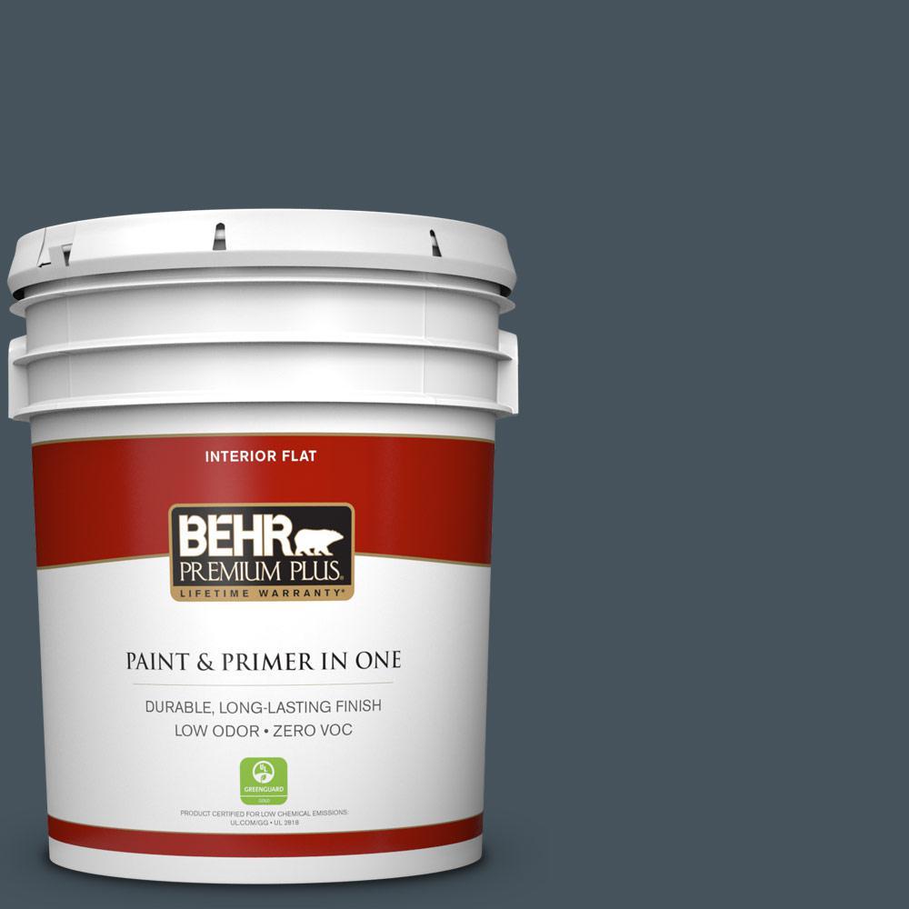 5 gal. #BNC-40 Moody Black Zero VOC Flat Interior Paint