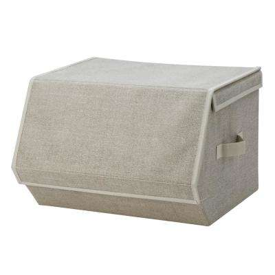 19 in. x 15 in. x 10 in. Collapsible Small Faux Jute Storage Chest