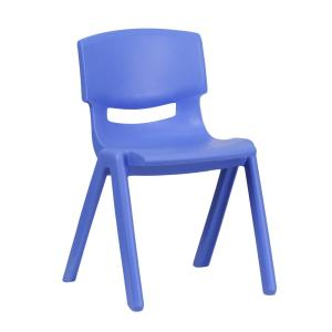 Flash Furniture Blue Plastic Stackable School Chair With 13.25 In. Seat  Height