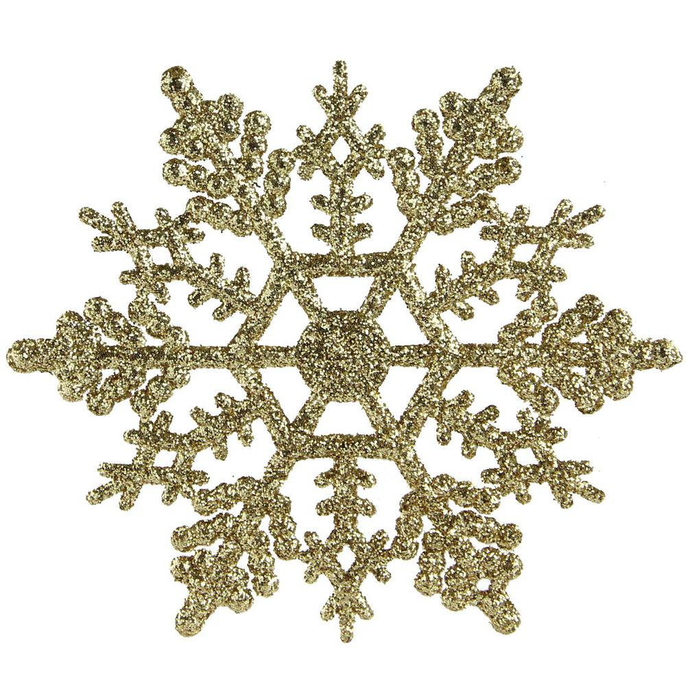 Christmas Snowflakes.Northlight Gold Glamour Glitter Snowflake Christmas Ornaments Pack Of 24