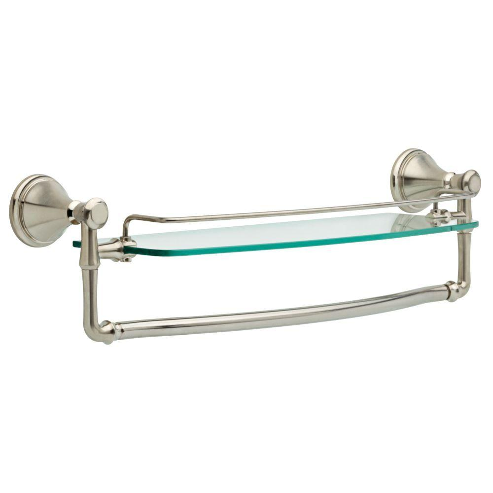 Delta Cassidy 18 in. Glass Bathroom Shelf with Towel Bar in ...