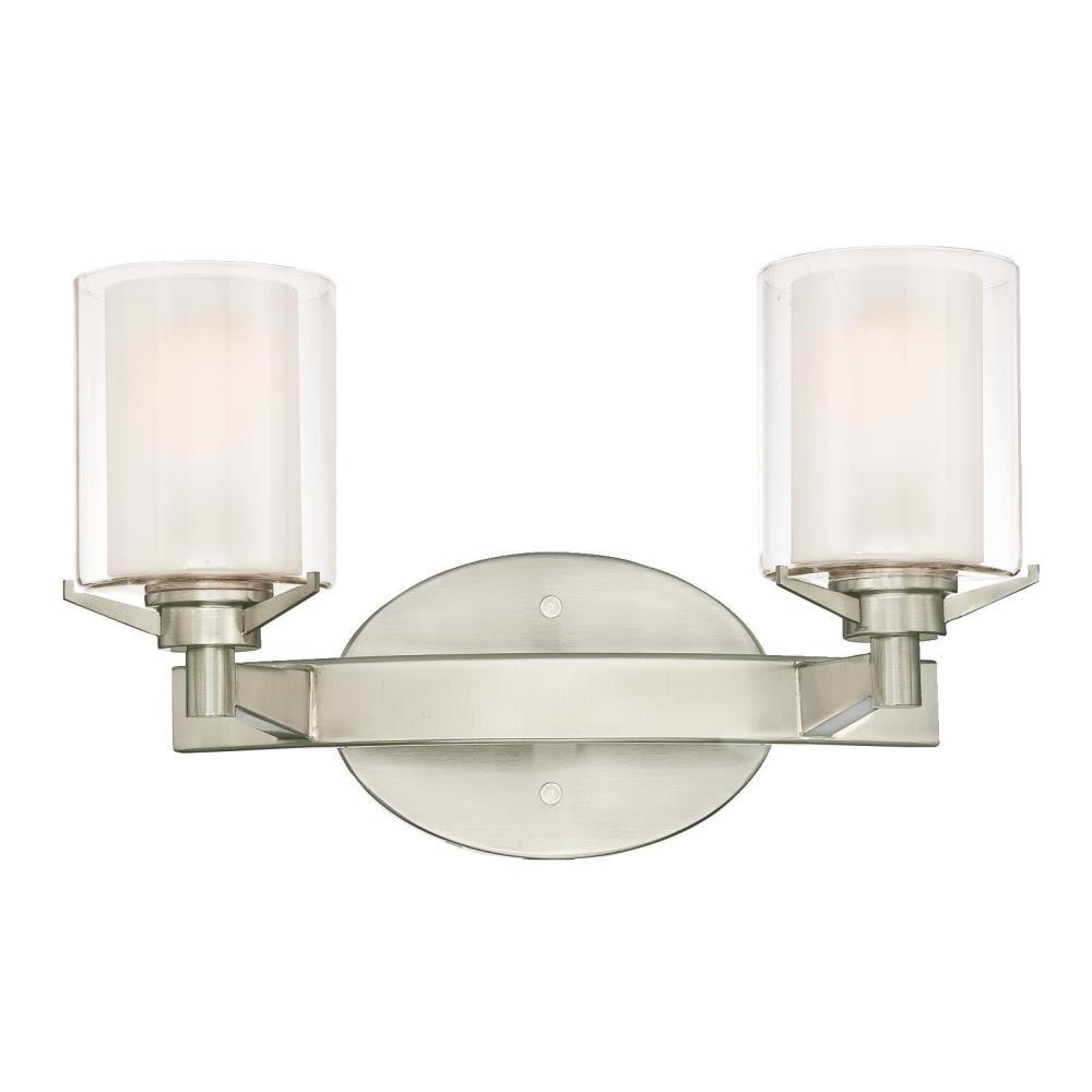 Westinghouse Glenford 2 Light Brushed Nickel Wall Mount Bath