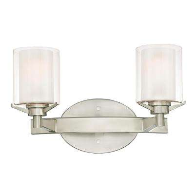 Glenford 2-Light Brushed Nickel Wall Mount Bath Light