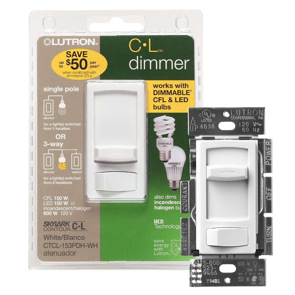 Lutron Skylark Contour LED+ Dimmer Switch for Dimmable LED, Halogen and Incandescent Bulbs, Single-Pole or 3-Way, White