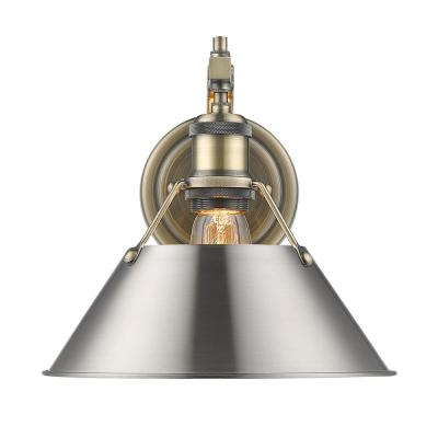 Orwell AB 1-Light Wall Sconce in Aged Brass with Pewter Shade