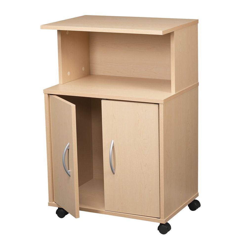 Talon 21 in. W 3-Shelf Laminate Kitchen Cart in Maple