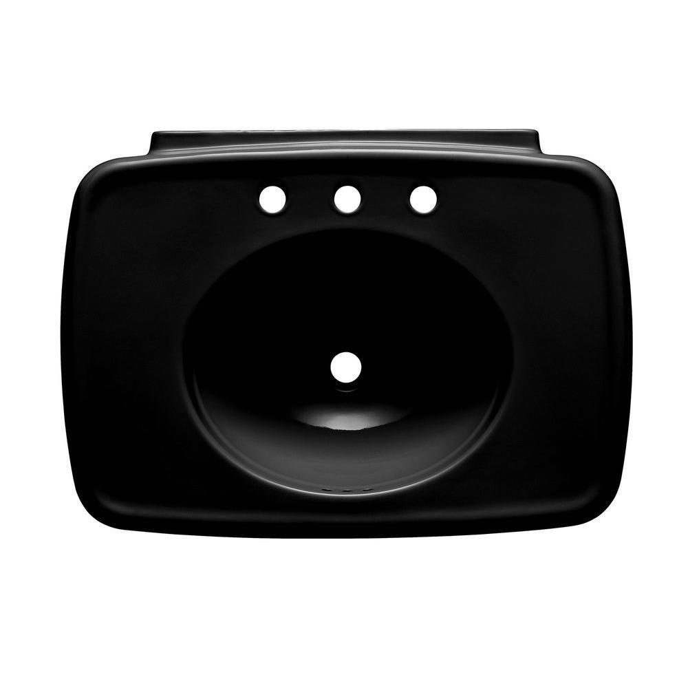 Bancroft 5 in. Ceramic Pedestal Sink Basin in Black Black with Overflow Drain