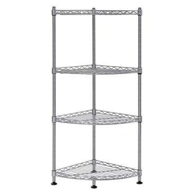 35 in. H x 12 in. W x 11.8 in. D 4-Shelf Wire Silver Finish Commercial Shelving Unit