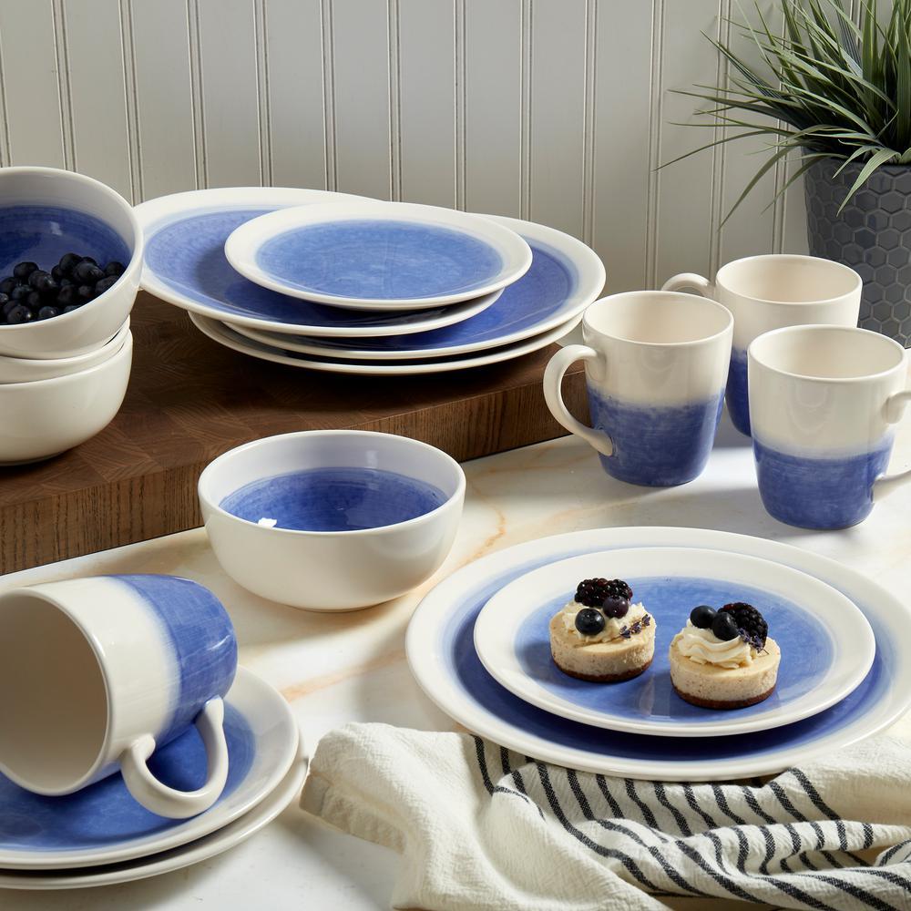 16-Piece Modern White Earthenware Dinnerware Set (Service for 4)