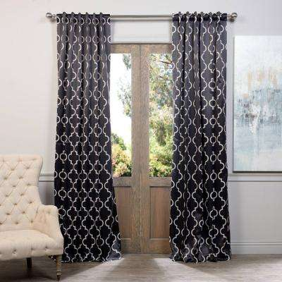 Semi-Opaque Seville Black Blackout Curtain - 50 in. W x 108 in. L (Pair)