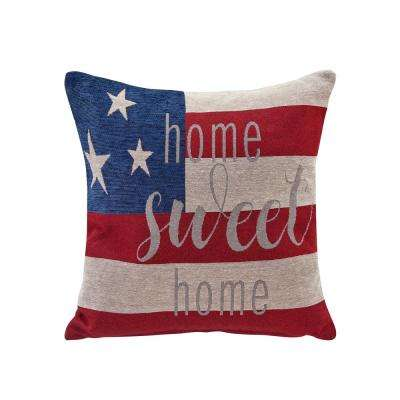 Americana Home Sweet Home Red, Ivory and Blue Decorative Pillow