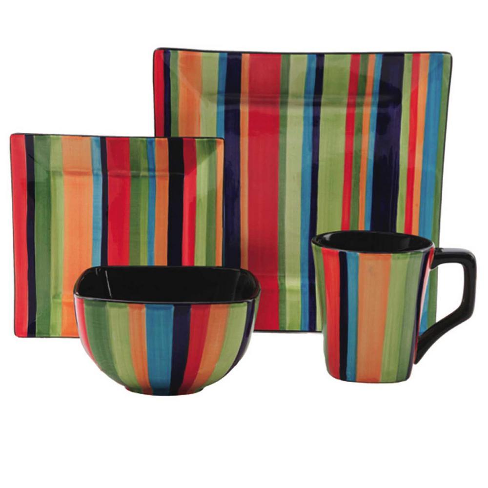 Square Florid Stripes 16 -iece Dinnerware Set