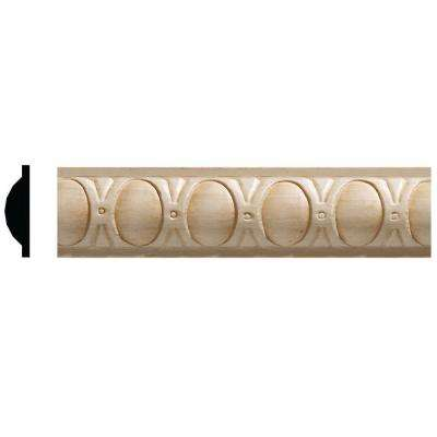 3/8 in. x 1-5/16 in. x 96 in. White Hardwood Embossed Oval Moulding