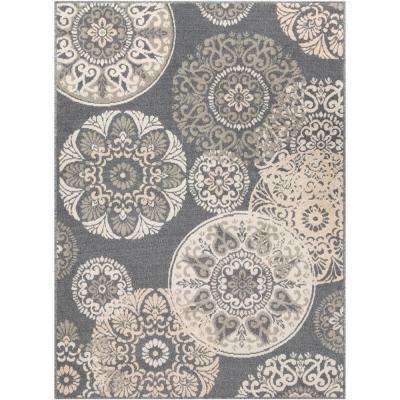 Eveline Charcoal 5 ft. 3 in. x 7 ft. 3 in. Medallion Area Rug