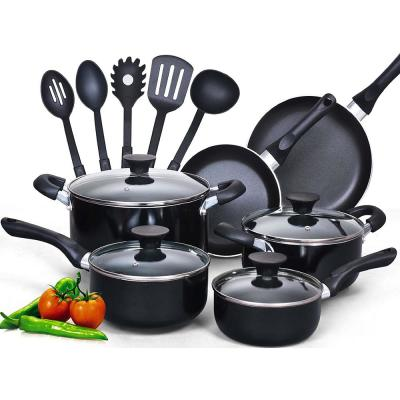 Stay Cool Handle 15-Piece Aluminum Nonstick Cookware Set in Black