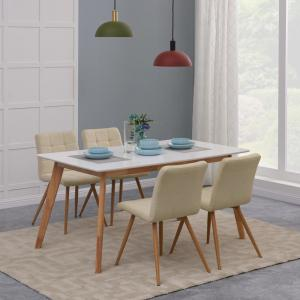 Handy Living Windsor 5 Piece Dining Set With White Topped Rectangle