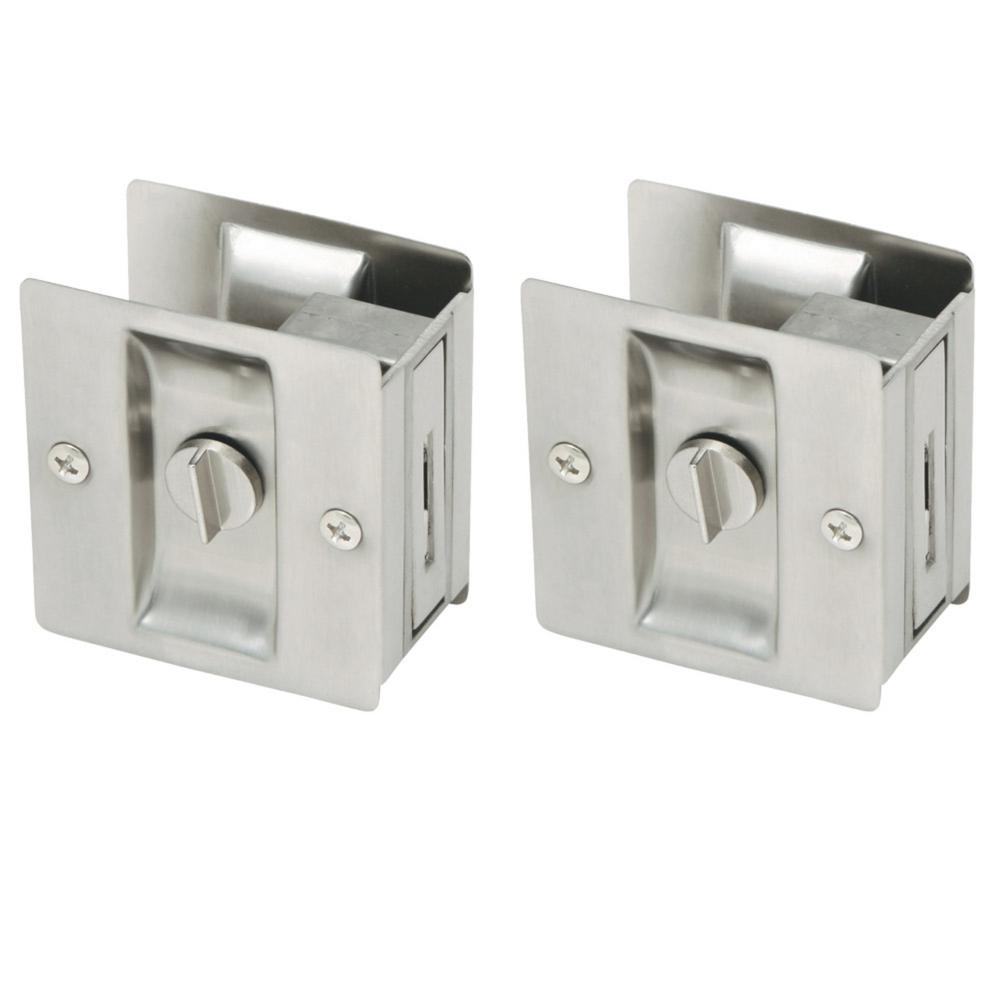 Satin Nickel Pocket Door Privacy Hardware (2 per Pack)