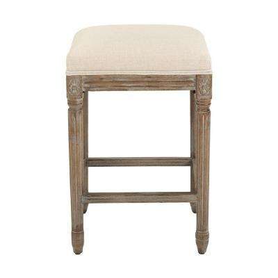 Jacques 25.25 in. Natural Cushioned Counter Stool in Antique Brown
