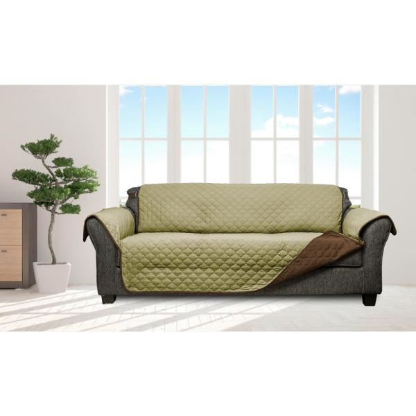 QuickFit Jameson Sage-Chocolate Reversible Waterproof Microfiber Sofa Cover with