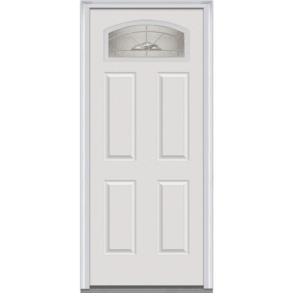 Milliken Millwork 32 in. x 80 in. Master Nouveau Decorative Glass 1/4 Lite 4-Panel Primed White Fiberglass Smooth Prehung Front Door
