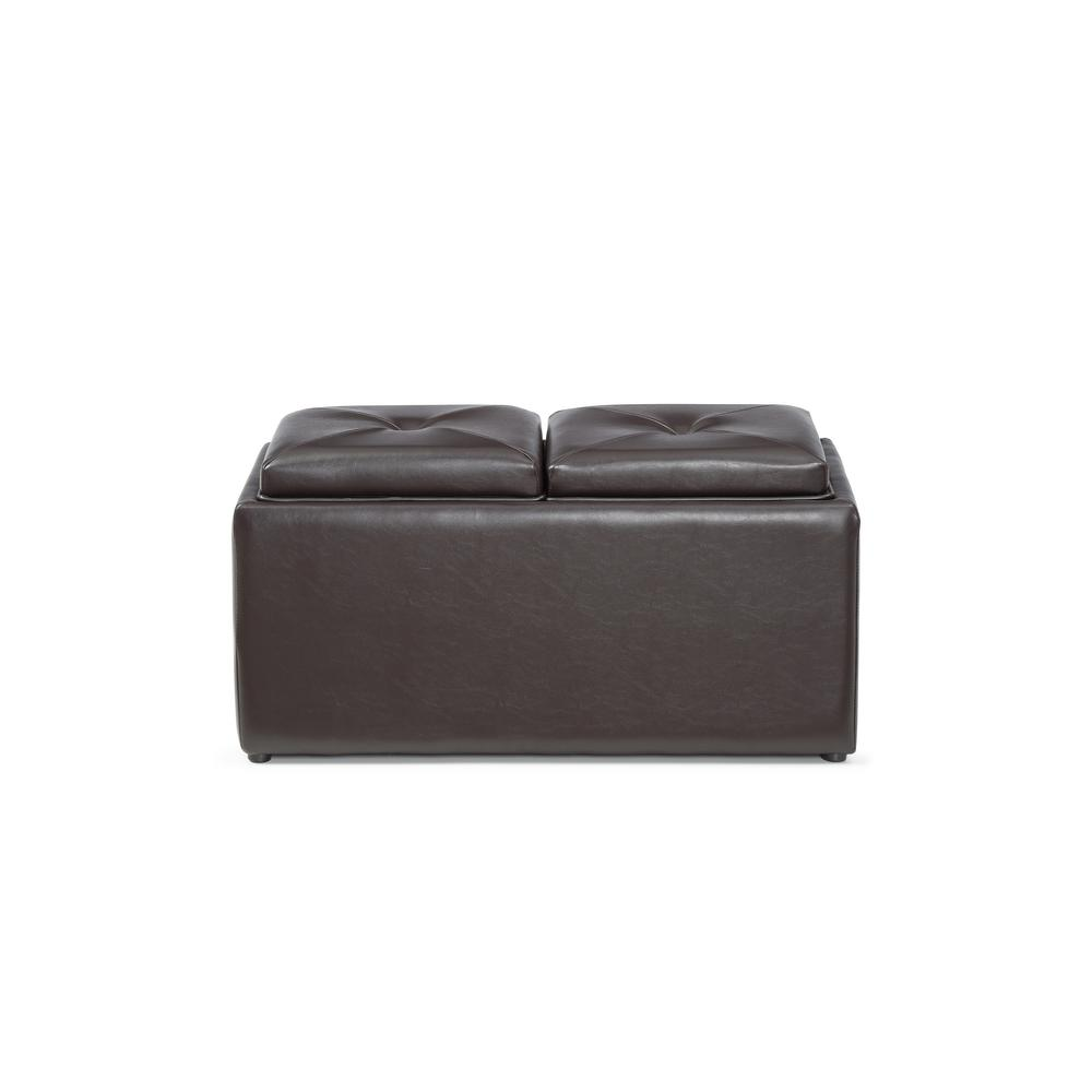 Hodedah Faux Leather Double Storage Brown Ottoman With 2