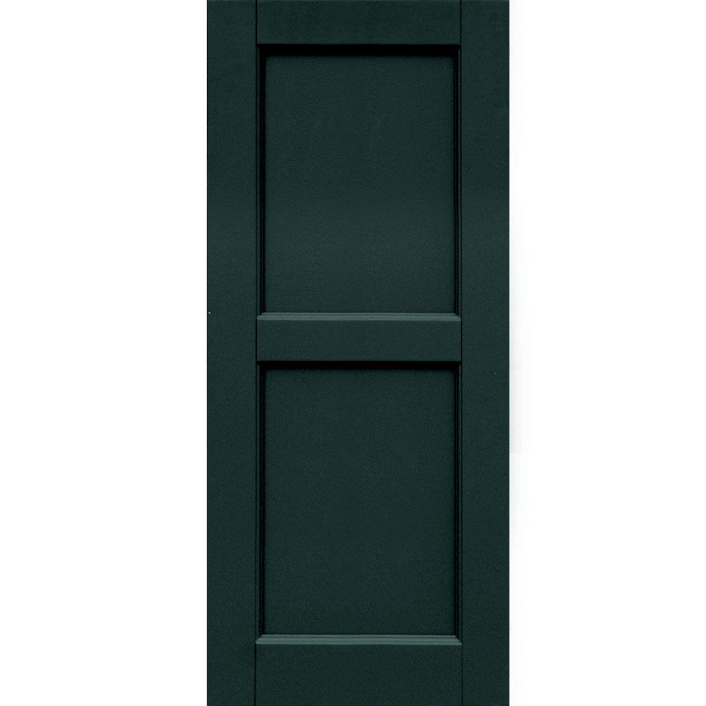 Winworks Wood Composite 15 in. x 36 in. Contemporary Flat Panel Shutters Pair #638 Evergreen