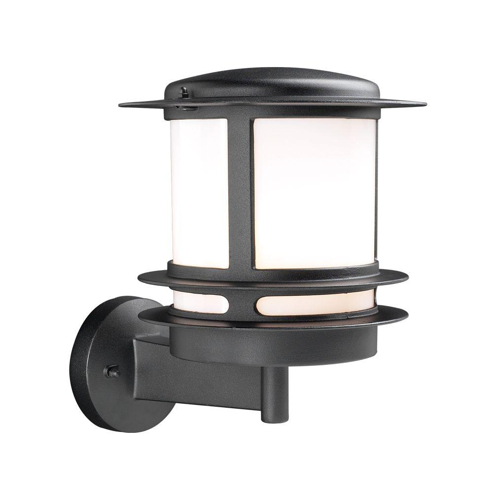 1-Light Outdoor Silver Wall Sconce with Opal Glass