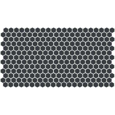 Keystones Unglazed Black 12 in. x 24 in. x 6 mm Porcelain Hexagon Mosaic Floor and Wall Tile (21 sq. ft. / case)
