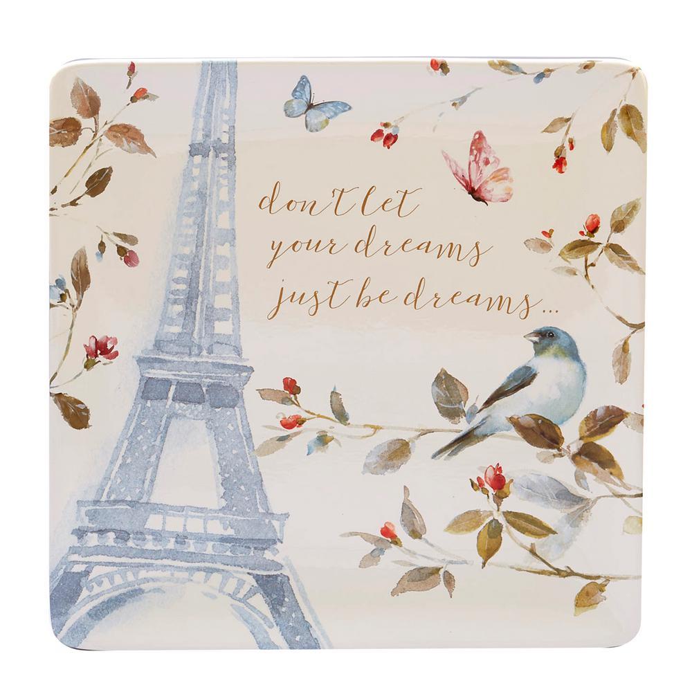 Beautiful Romance Multi-Colored 12.5 in. Ceramic Square Platter