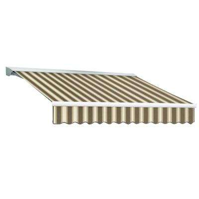12 ft. DESTIN EX Model Manual Retractable with Hood Awning (120 in. Projection) in Brown and Tan Multi Stripe