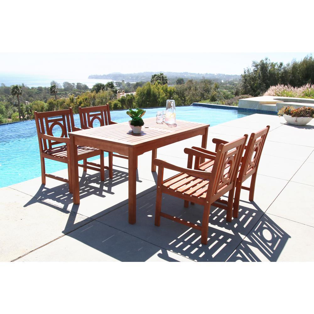 Malibu 5-Piece Rectangle Patio Dining Set