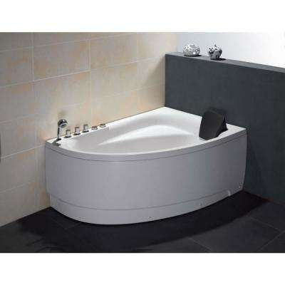 59 in. Acrylic Left Drain Corner Apron Front Whirlpool Bathtub in White