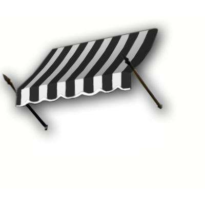 35 ft. New Orleans Awning (44 in. H x 24 in. D) in Black/White Stripe