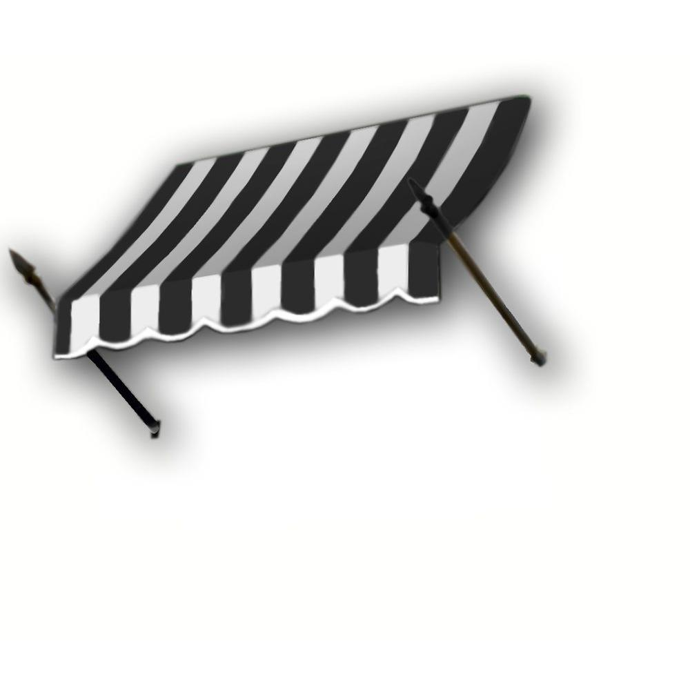 AWNTECH 6 ft. New Orleans Awning (44 in. H x 24 in. D) in Black / White Stripe