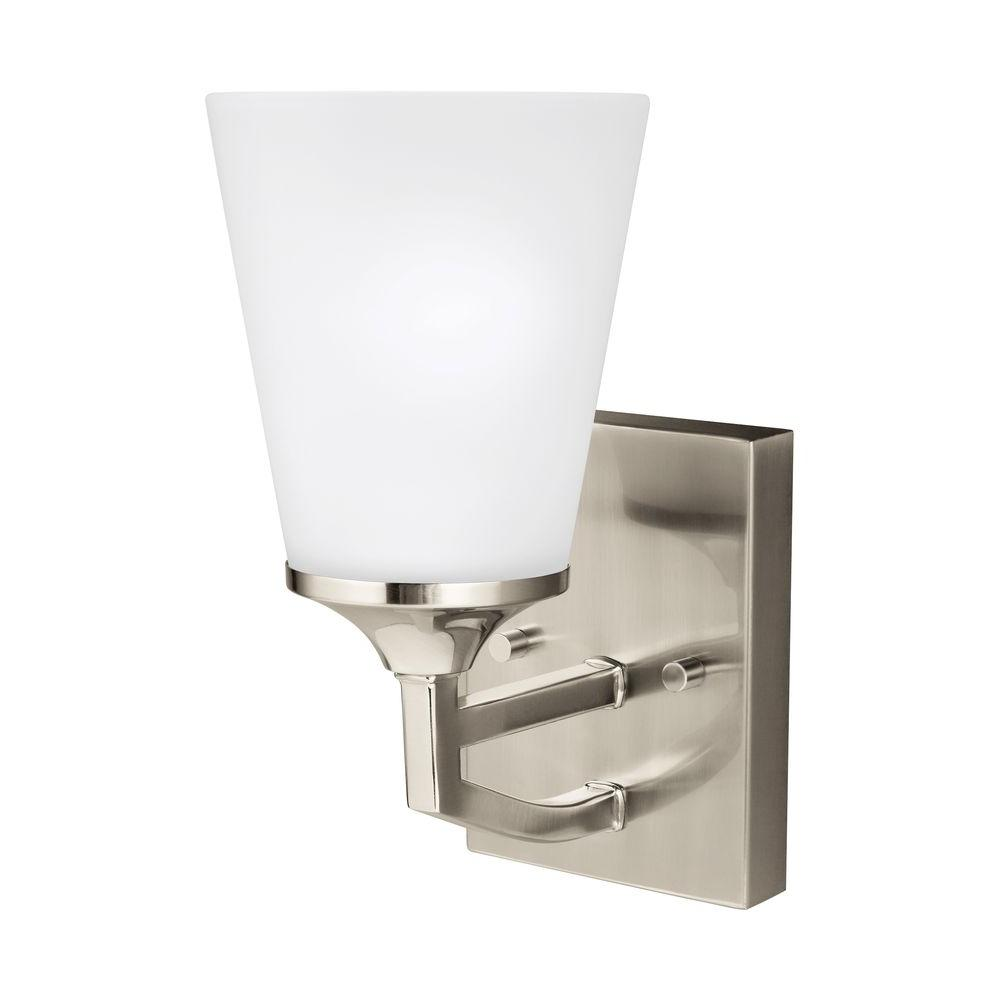 Sea Gull Lighting Hanford 1 Light Brushed Nickel Wall Sconce 4124501 962 The Home Depot