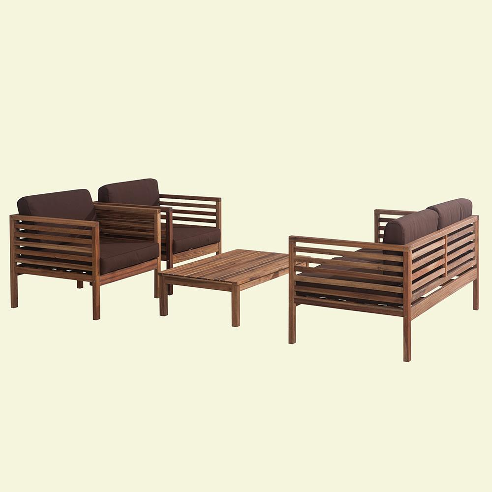 Anderson 4 Piece Wood Patio Seating Set With Brown Cushions