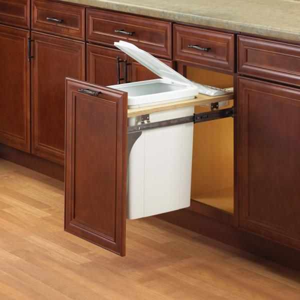Knape Vogt 17 5 In X 12 In X 22 5 In In Cabinet Pull Out Top Mount Trash Can Pdmtm12 1 35wh The Home Depot