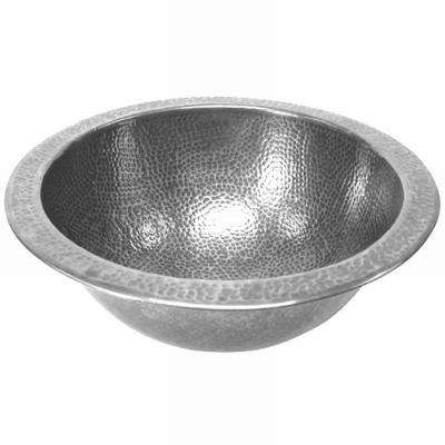 Hammerwerks Baby Round Undermount Copper Lavatory Sink in Pewter