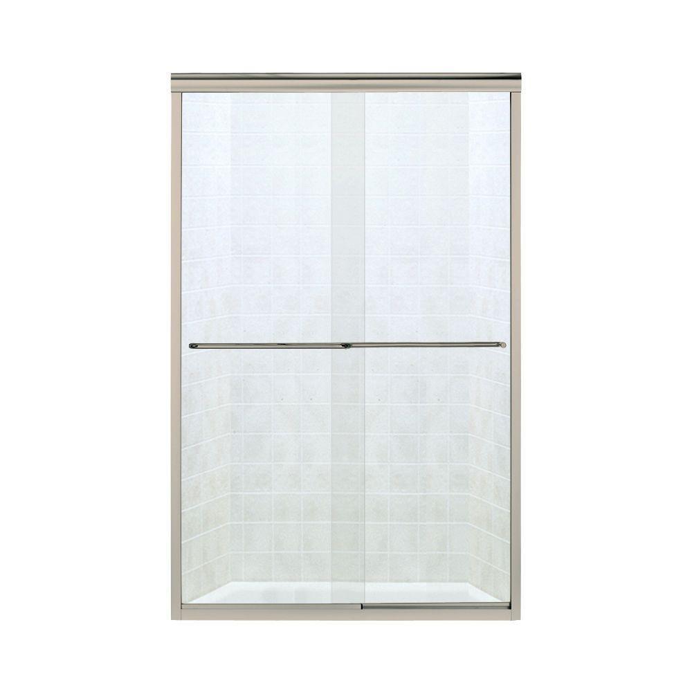 Sterling Finesse 47 25 In X 70 3125 In Frameless Sliding Shower Door In Brushed Nickel 5375ez 47n The Home Depot