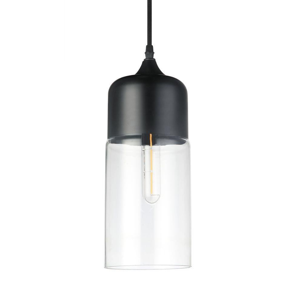 Black Industrial Light Part - 25: VONN Lighting Delphinus 1-Light 5 In. Black LED Adjustable Hanging  Industrial Pendant With