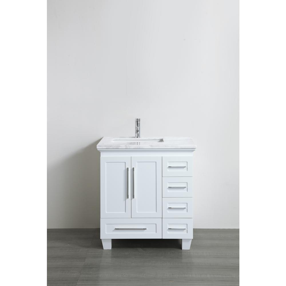 Eviva Loon 30.50 in. W x 22 in. D x 34 in. H Vanity in White with Carrera Marble Vanity Top in White with White Basin