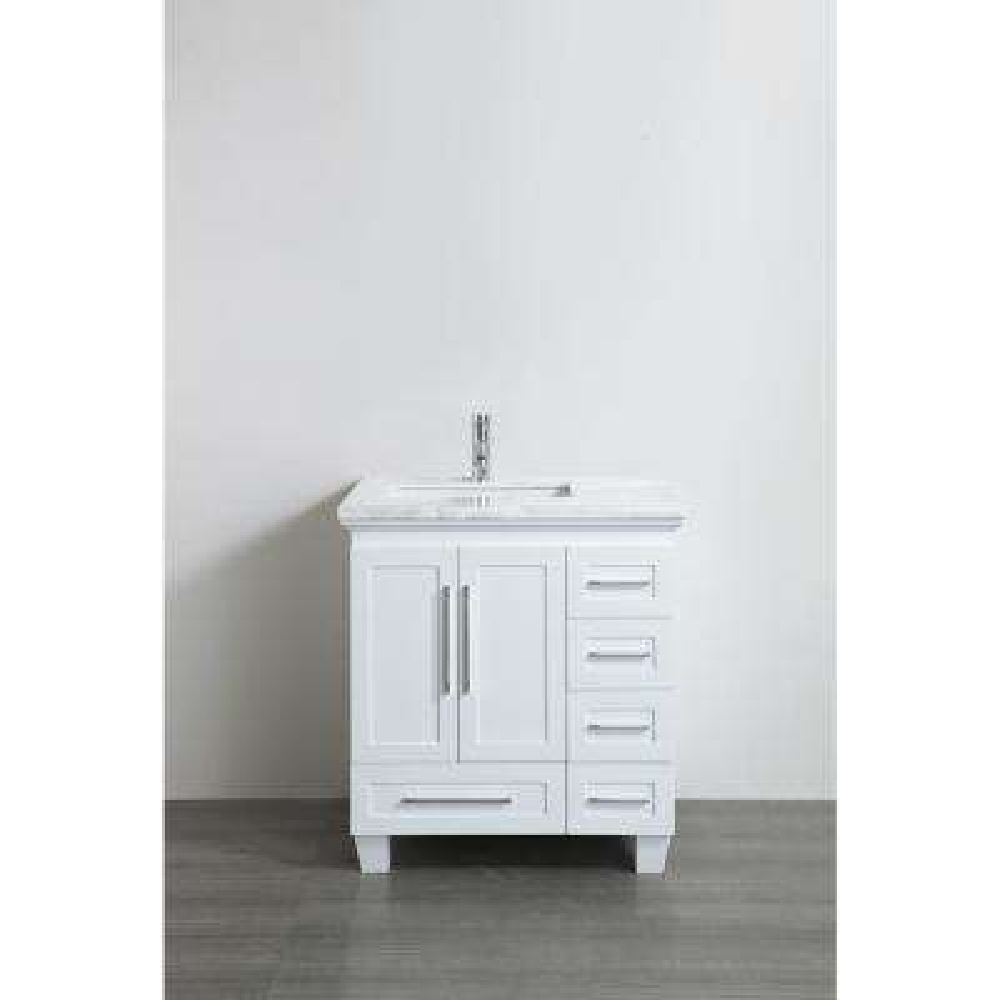 Loon 30.50 in. W x 22 in. D x 34 in. H Vanity in White with Carrera Marble Vanity Top in White with White Basin