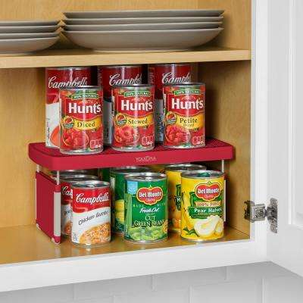 StoreMore Plastic Adjustable Shelf Riser in Red (2-Pack)