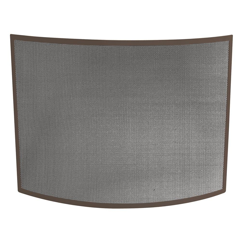 Complete the look of your living room or bedroom with the use of this UniFlame Curved Bronze Single-Panel Fireplace Screen.