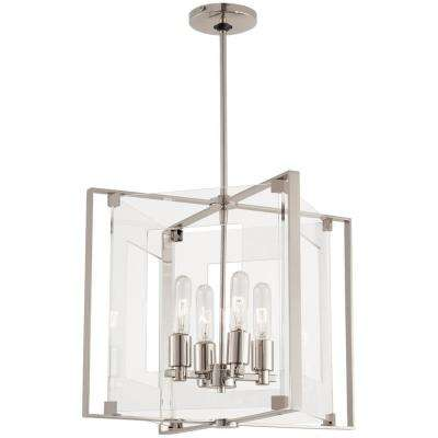 Crystal-Clear 4-Light Polished Nickel Pendant