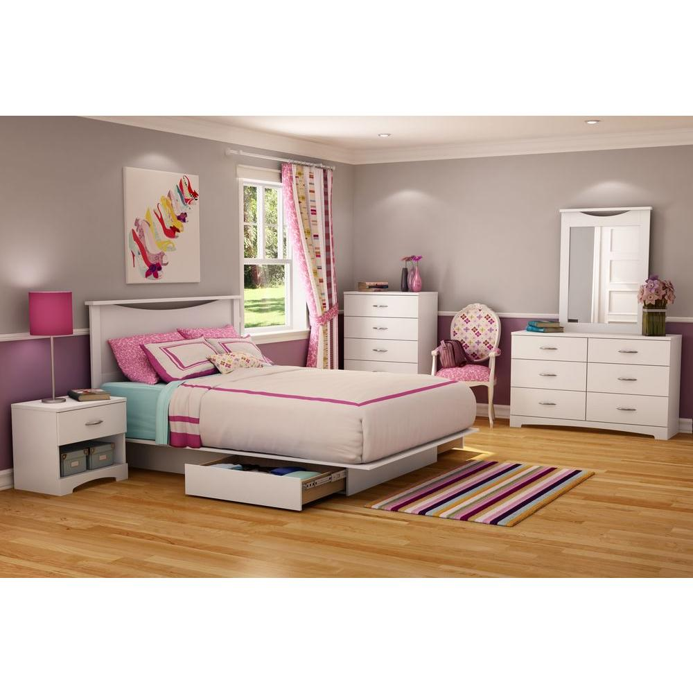 South Shore Step One 2 Drawer Full/Queen Size Platform Bed In Pure
